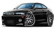 Bmw M1 Posters - BMW e46 M3 Black ZCP Poster by Maddmax