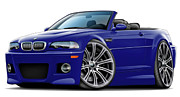 Bmw M1 Posters - BMW e46 M3 Blue Convertible Poster by Maddmax