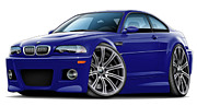 Bmw M1 Posters - BMW e46 M3 Blue Coupe Poster by Maddmax