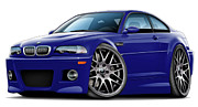 Bmw M1 Posters - BMW e46 M3 Blue ZCP Poster by Maddmax
