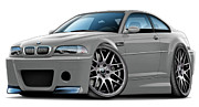 Bmw M1 Posters - BMW e46 M3 CSL Silver Car Poster by Maddmax