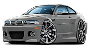 Bmw M1 Posters - BMW e46 M3 Grey Coupe Poster by Maddmax