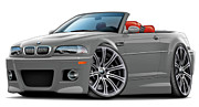 Bmw M1 Posters - BMW e46 M3 Grey-Red Convertible Poster by Maddmax