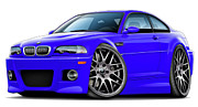 Bmw M1 Posters - BMW e46 M3 Interlagos Blue ZCP Poster by Maddmax