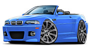 Bmw Digital Art Framed Prints - BMW e46 M3 Laguna Seca Blue Convertible Framed Print by Maddmax