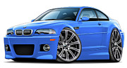 Bmw M1 Posters - BMW e46 M3 Laguna Seca Blue Coupe Poster by Andy Hengelhaupt