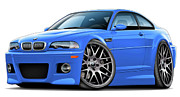 Bmw M1 Posters - BMW e46 M3 Laguna Seca Blue ZCP Poster by Maddmax