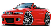 Bmw M1 Posters - BMW e46 M3 Red-Black Convertible Poster by Maddmax