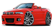Bmw M1 Posters - BMW e46 M3 Red Convertible Poster by Maddmax