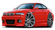 Bmw M1 Posters - BMW e46 M3 Red Coupe Poster by Maddmax