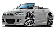Bmw M1 Posters - BMW e46 M3 Silver Convertible Poster by Andy Hengelhaupt