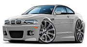 Bmw M1 Posters - BMW e46 M3 Silver Coupe Poster by Maddmax