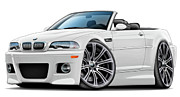 Bmw M1 Posters - BMW e46 M3 White Convertible Poster by Andy Hengelhaupt