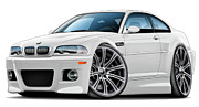 Bmw M1 Posters - BMW e46 M3 White Coupe Poster by Andy Hengelhaupt