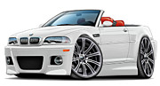 Bmw M1 Posters - BMW e46 M3 White-Red Convertible Poster by Maddmax