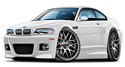 Bmw M1 Posters - BMW e46 M3 White ZCP Poster by Maddmax