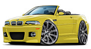 Bmw M1 Posters - BMW e46 M3 Yellow Convertible Poster by Maddmax