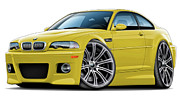 Bmw M1 Posters - BMW e46 M3 Yellow Coupe Poster by Maddmax