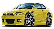 Bmw M1 Posters - BMW e46 M3 Yellow ZCP Poster by Andy Hengelhaupt
