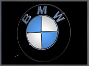 Silver Metal Prints - BMW Emblem Metal Print by DigiArt Diaries by Vicky Browning