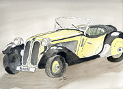 Vintage Car Drawings Prints - Bmw Print by Eva Ason