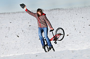 Girl Sports Posters - BMX Flatland in the snow - Monika Hinz Poster by Matthias Hauser