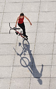 Girl Sports Posters - BMX Flatland Shadow Play Monika Hinz Poster by Matthias Hauser
