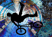 Figures Silhouettes Young Sport Grunge Athletes Prints - BMX in a Grunge Tunnel Print by Elaine Plesser