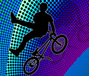 Figures Silhouettes Young Sport Grunge Athletes Prints - BMX in Fractal Movie Marquee Print by Elaine Plesser