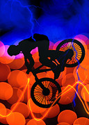 Figures Silhouettes Young Sport Grunge Athletes Prints - BMX in Light Crystals and Lightning Print by Elaine Plesser