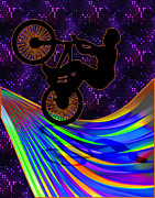 Figures Silhouettes Young Sport Grunge Athletes Prints - BMX on a Rainbow Road  Print by Elaine Plesser