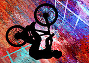 Figures Silhouettes Young Sport Grunge Athletes Prints - BMX on Rusty Grunge Print by Elaine Plesser