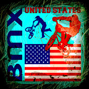 Bmx Posters - BMX United States Poster by David G Paul