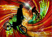 Figures Silhouettes Young Sport Grunge Athletes Prints - BMXers in Red and Orange Grunge Swirls Print by Elaine Plesser