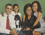 First Family Paintings - Bo and the Obamas by Henry Frison