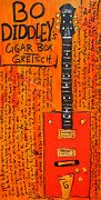 Rock And Roll Paintings - Bo Diddley Cigar Box Gretsch by Karl Haglund
