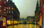 Raining Metal Prints - Boar Lane Metal Print by John Atkinson Grimshaw