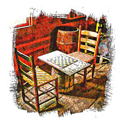 Ladder Back Chairs Prints - Board Games Print by Michael Hodges