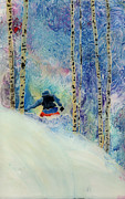 Ski Paintings - Boarder in Silverbirches  by Sara Pendlebury