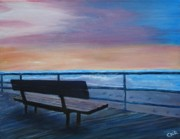 Boardwalk Paintings - Boardwalk at Sunrise by Rita Tortorelli