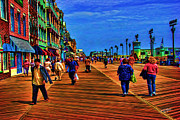 Atlantic Beaches Digital Art Posters - Boardwalk Atlantic City Poster by James  Mingo