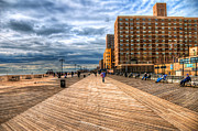 York Beach Framed Prints - Boardwalk Brooklyn Framed Print by Svetlana Sewell