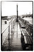 Ocean Black And White Prints Prints - Boardwalk Centered Print by John Rizzuto