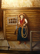 Rifle Painting Originals - Boardwalk Cowgirl by Sharon Tabor