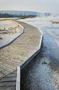 Yellowstone Park Scene Prints - Boardwalk Over The Hot Springs Of The Print by Alan Majchrowicz