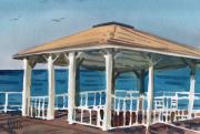 Boardwalk Paintings - Boardwalk Pavillion by Donald Maier