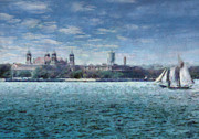 New Life Posters - Boat - NY - Ellis Island Poster by Mike Savad