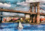Brooklyn Bridge Posters - Boat - NY - Sailing under the Brooklyn Bridge Poster by Mike Savad