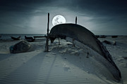 Gloaming Posters - Boat and moon Poster by MotHaiBaPhoto Prints