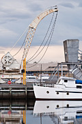 Hobart Art - Boat and old crane reflections by David Lade